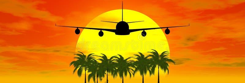 Puesta del sol con el aeroplano stock de ilustración