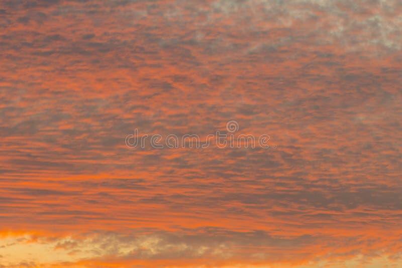 Puesta del sol con el cielo anaranjado Cielo anaranjado y amarillo vibrante brillante caliente de la puesta del sol de los colore imágenes de archivo libres de regalías