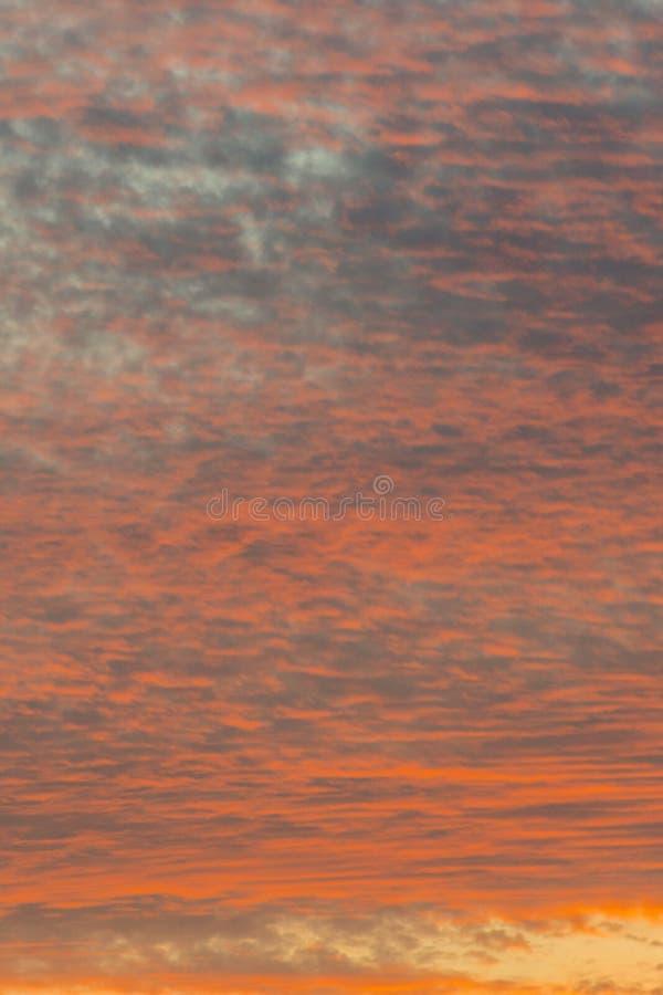 Puesta del sol con el cielo anaranjado Cielo anaranjado y amarillo vibrante brillante caliente de la puesta del sol de los colore foto de archivo libre de regalías