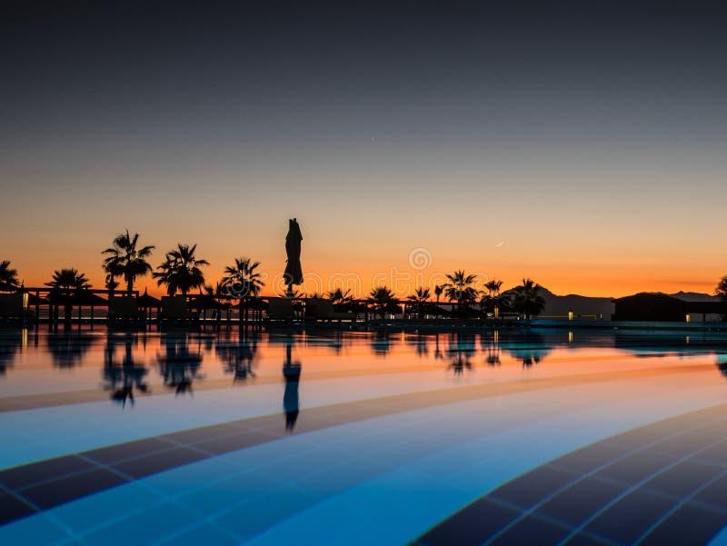 Puesta del sol con la palma de los silhuettes y reflexión en piscina foto de archivo libre de regalías