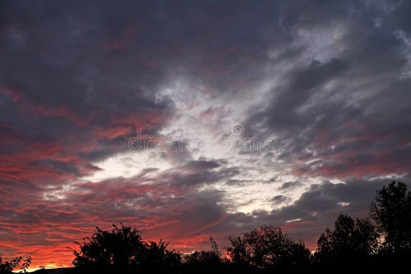 Puesta del sol con las nubes en la forma de un pájaro fotos de archivo libres de regalías