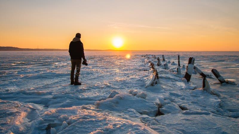 Puesta del sol congelada, Sandy Hook, NJ foto de archivo libre de regalías