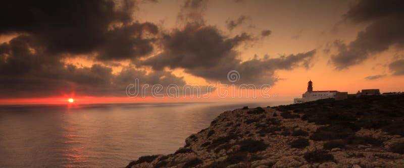 Puesta del sol de Algarve, Cabo de Sao Vicente, Portugal imagen de archivo