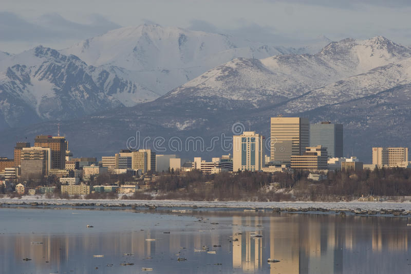 Puesta del sol de Anchorage fotos de archivo
