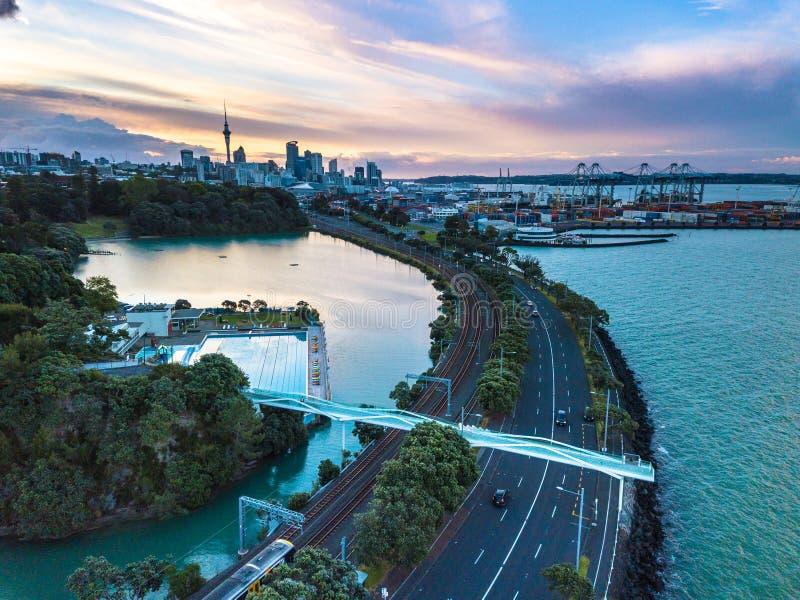 Puesta del sol de Auckland fotografía de archivo libre de regalías