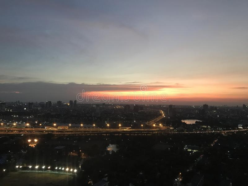 Puesta del sol de Bangkok foto de archivo