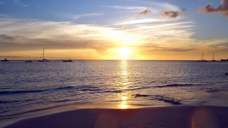 Puesta del sol de Barbados imagen de archivo