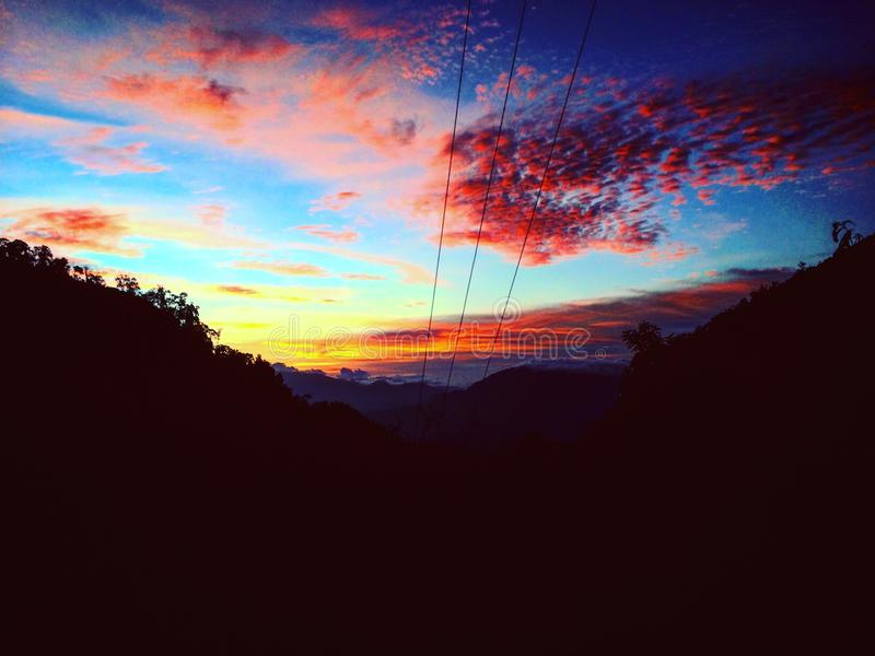 Puesta del sol de Beautifull foto de archivo libre de regalías