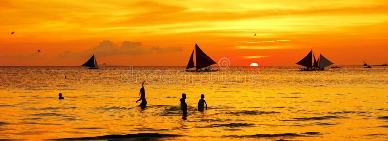 Puesta del sol de Boracay imagen de archivo libre de regalías