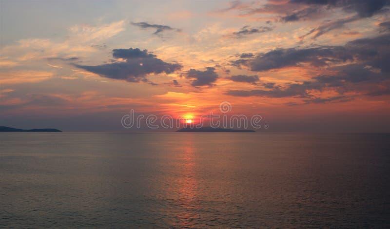 Puesta del sol de Corfú imágenes de archivo libres de regalías
