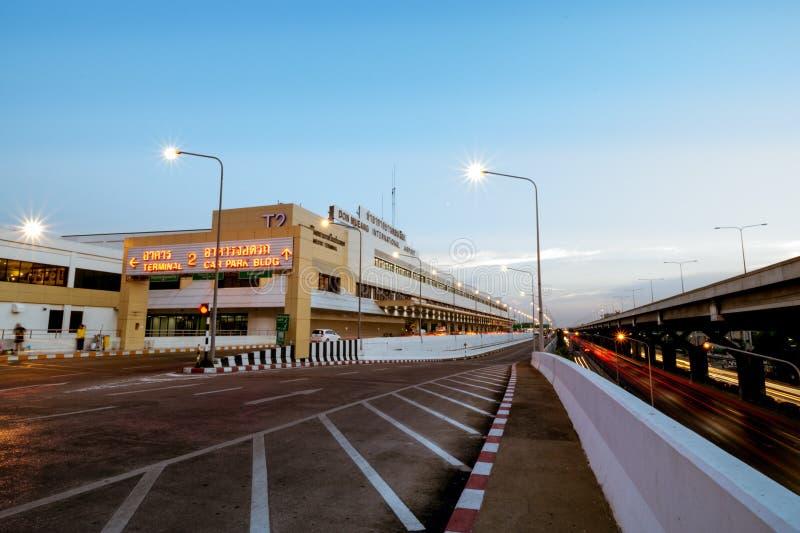 Puesta del sol de Don Mueang International Airport fotos de archivo libres de regalías