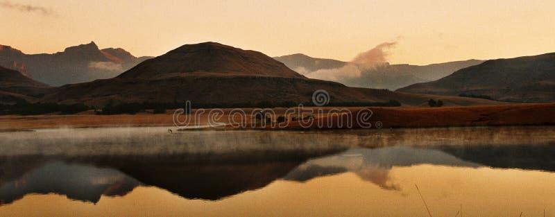 Puesta del sol de Drakensberg fotografía de archivo