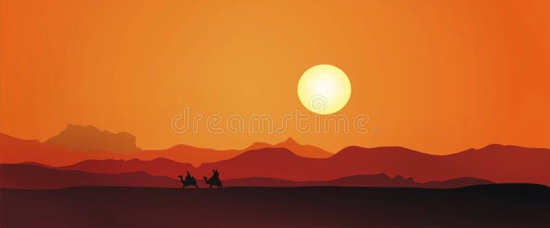 Puesta del sol de Egipto ilustración del vector