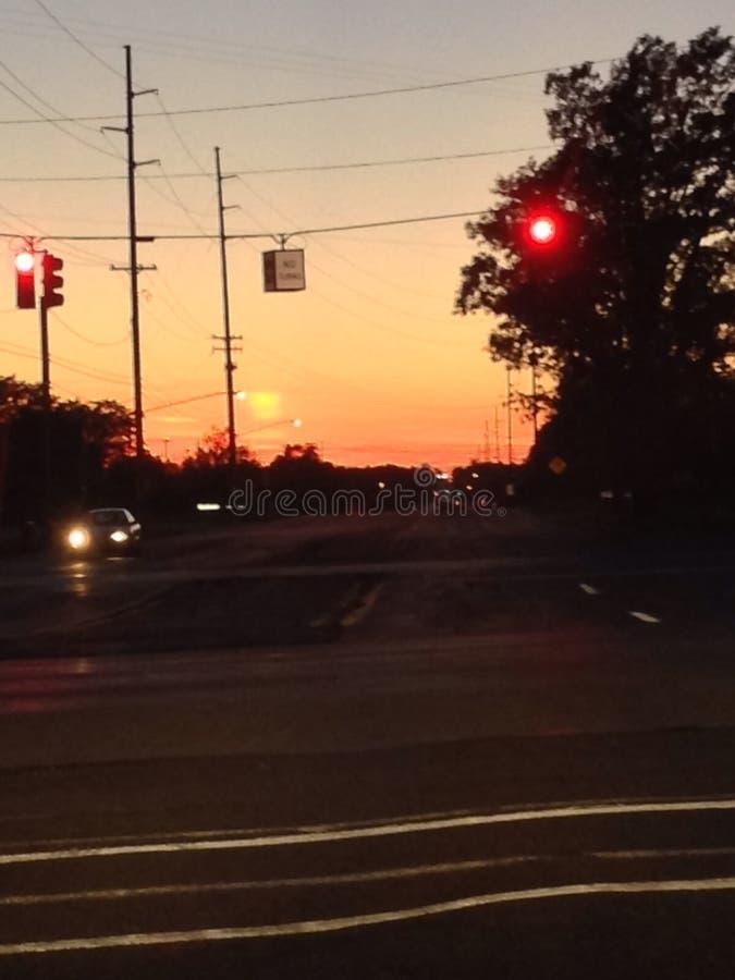 Puesta del sol de Grand Rapids fotos de archivo