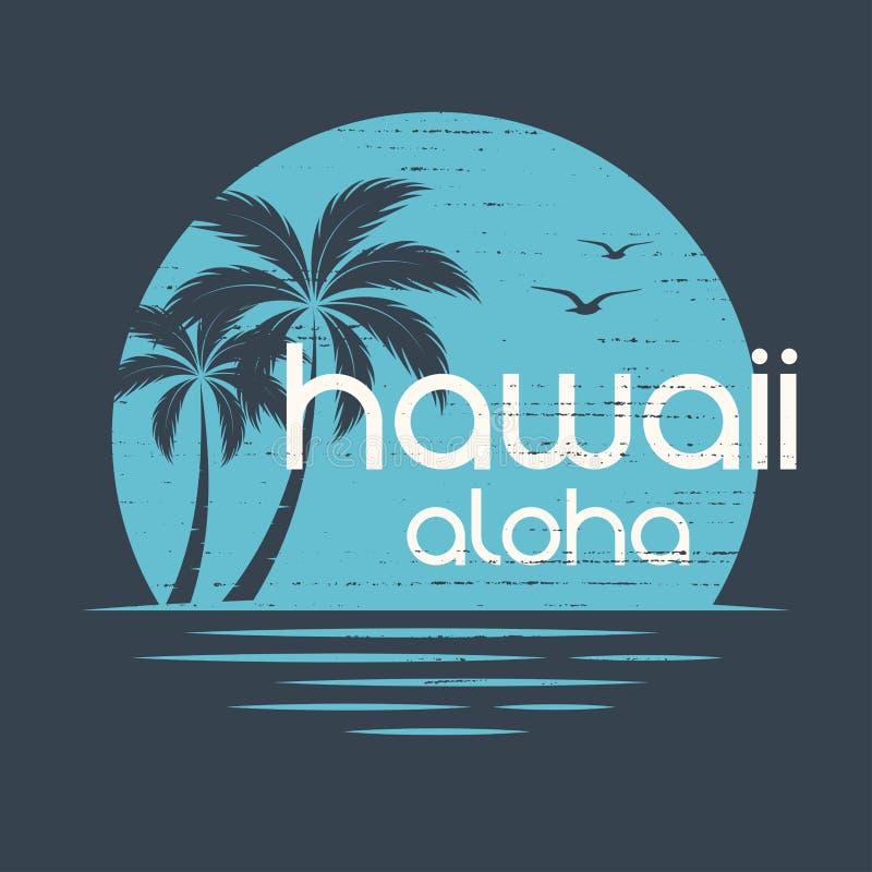 Puesta del sol de Hawaii El vector de la camiseta y de la ropa diseña, imprime, typogra ilustración del vector