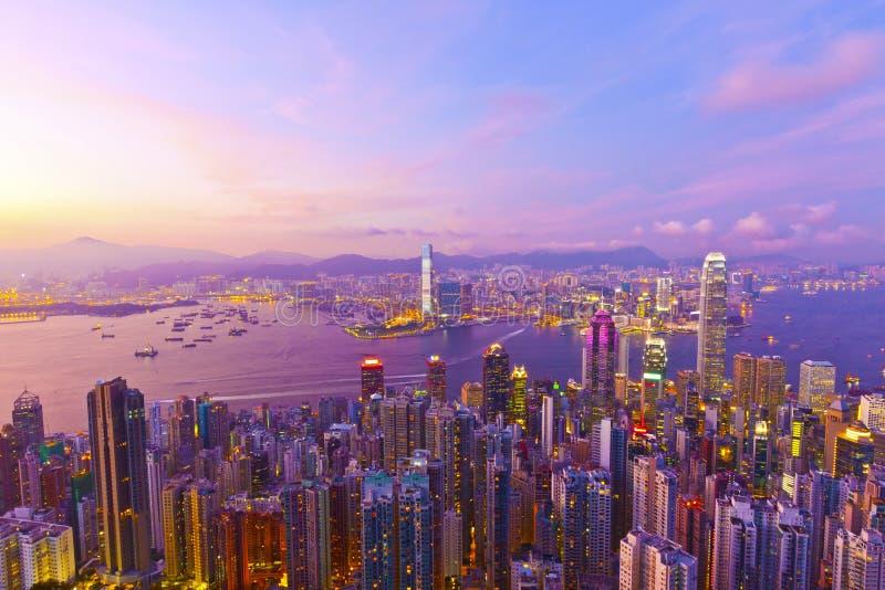 Puesta del sol de Hong-Kong fotografía de archivo