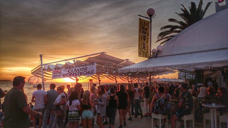 Puesta del sol de Ibiza imagen de archivo