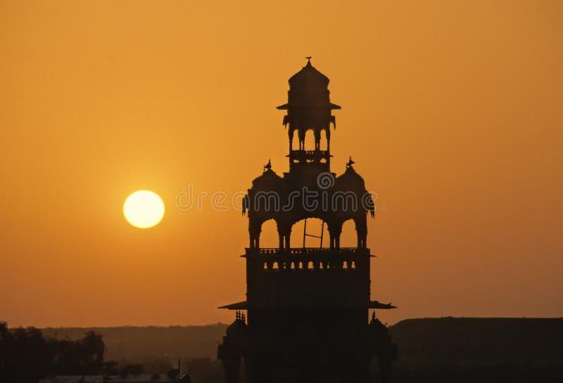 Puesta del sol de Jaisalmer imagenes de archivo