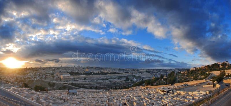 Puesta del sol de Jerusalén imagen de archivo