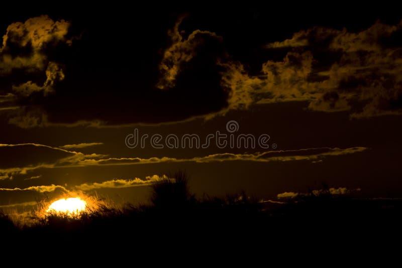 Puesta del sol de Kalahari imagen de archivo