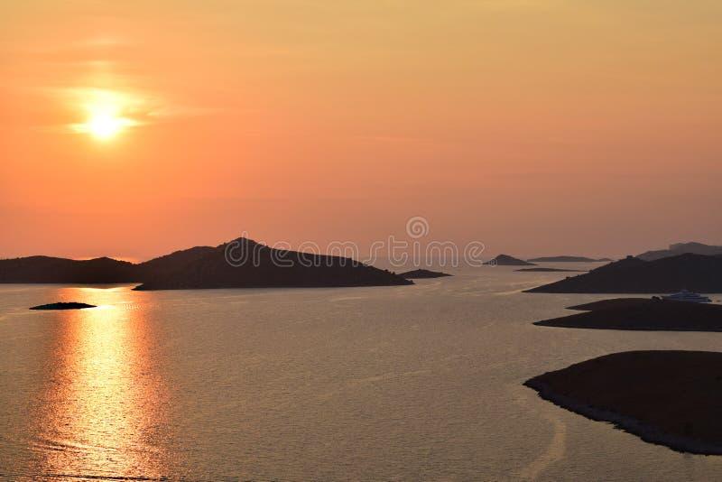 Puesta del sol de Kornati imagen de archivo libre de regalías