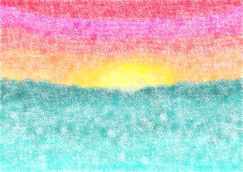 Puesta del sol de la acuarela del fondo en el mar ilustración del vector