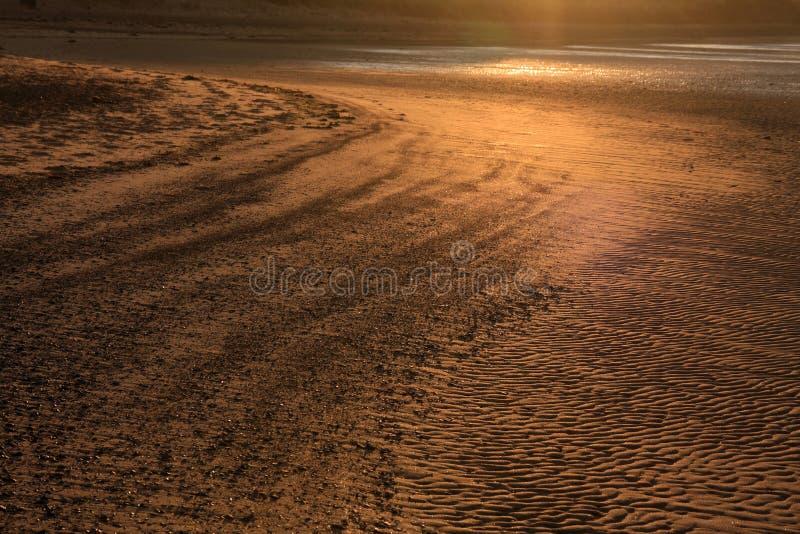 Puesta del sol de la bahía de Budle foto de archivo libre de regalías