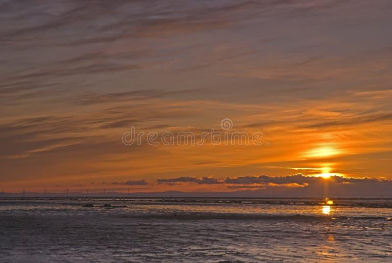 Puesta del sol de la bahía de Morecambe imagen de archivo libre de regalías