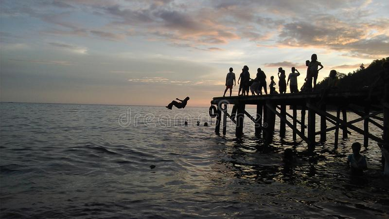 Puesta del sol de la belleza en Mariadei Tak Terlupakan foto de archivo