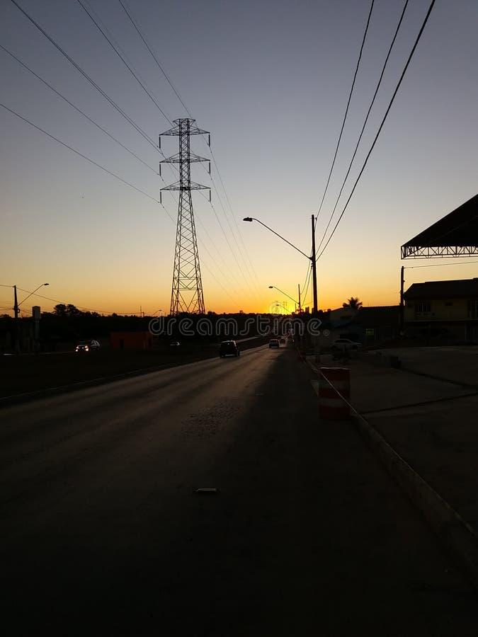 Puesta del sol de la calle fotos de archivo libres de regalías