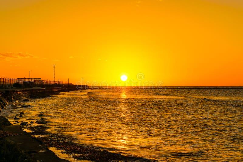 Puesta del sol de la costa costa de Montego Bay Jamaica imagen de archivo libre de regalías