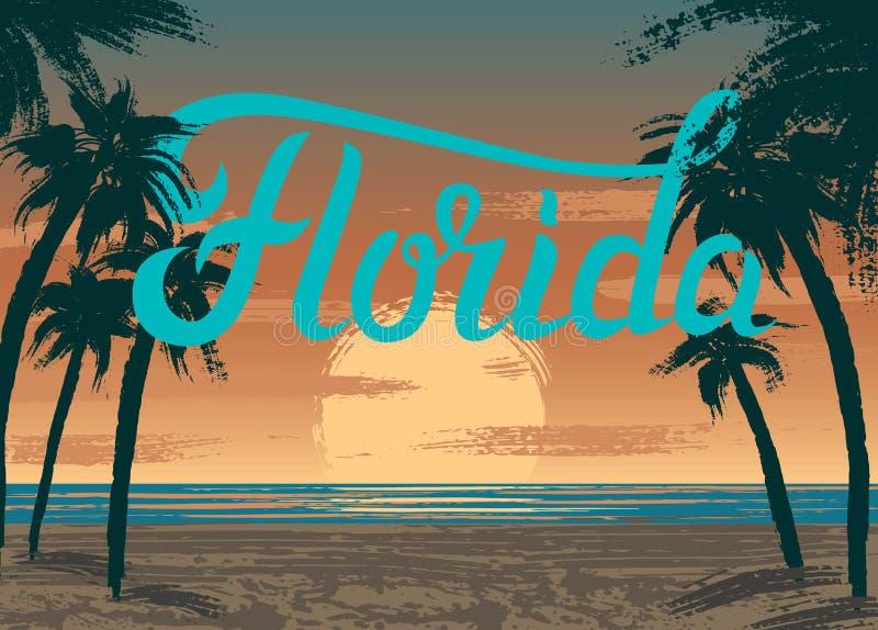 Puesta del sol de la Florida ilustración del vector
