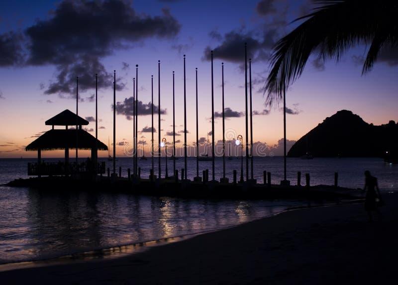 Puesta del sol de la isla de la paloma imagen de archivo