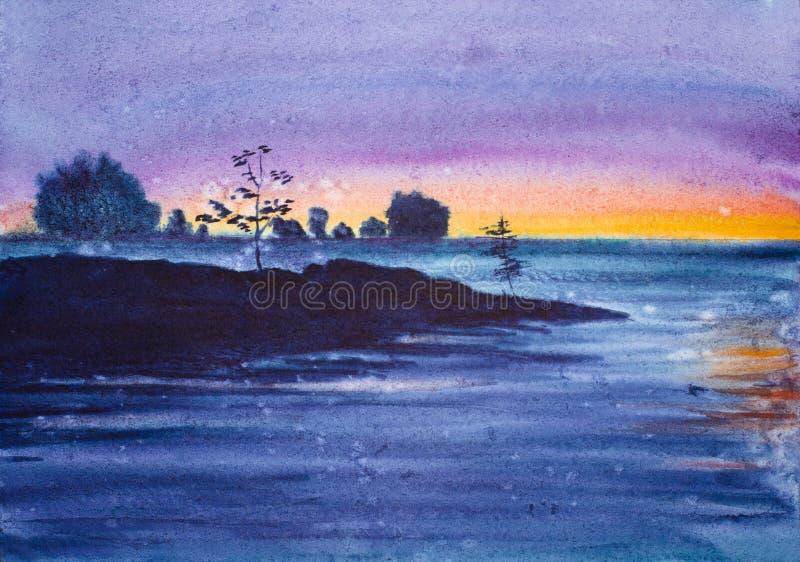 Puesta del sol de la lila en el lago foto de archivo libre de regalías