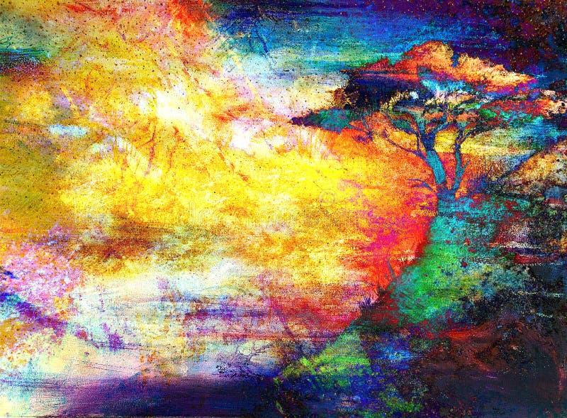 Puesta del sol de la pintura mar y rbol paisaje del - Papel pintado paisaje ...
