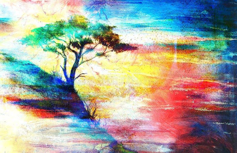 Puesta del sol de la pintura mar y rbol paisaje del papel pintado stock de ilustraci n - Papel pintado paisajes ...