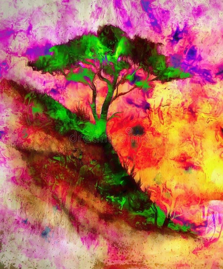 Puesta del sol de la pintura, mar y árbol, paisaje del papel pintado ilustración del vector