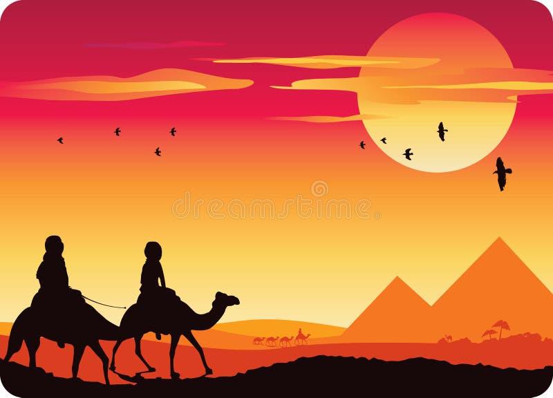 Puesta del sol de la pirámide libre illustration