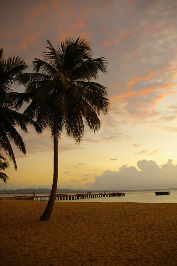 Puesta del sol de la playa fotografía de archivo