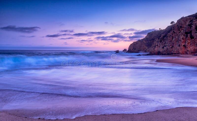 Puesta del sol de la playa de California imagen de archivo