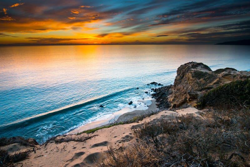 Puesta del sol de la playa de estado de Dume del punto imagenes de archivo