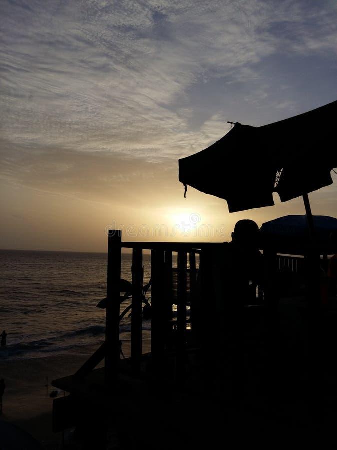 Puesta del sol de la playa de Mamelle foto de archivo libre de regalías