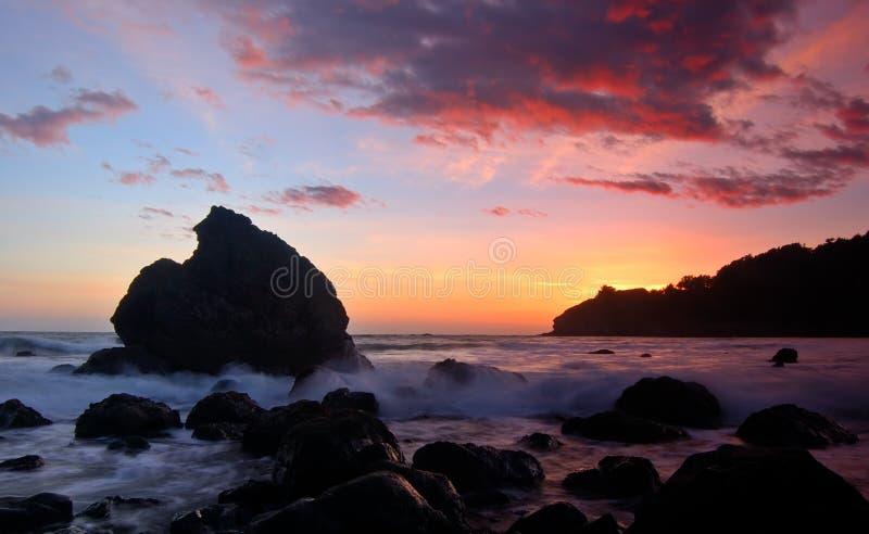 Puesta del sol de la playa de Muir imagen de archivo libre de regalías