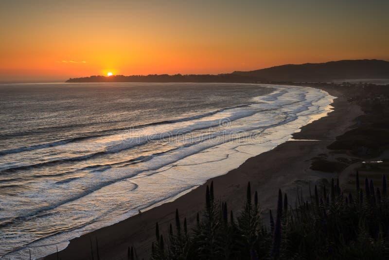 Puesta del sol de la playa de Stinson, California fotografía de archivo