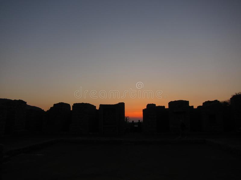Puesta del sol de la ruina de Taksilla fotos de archivo libres de regalías