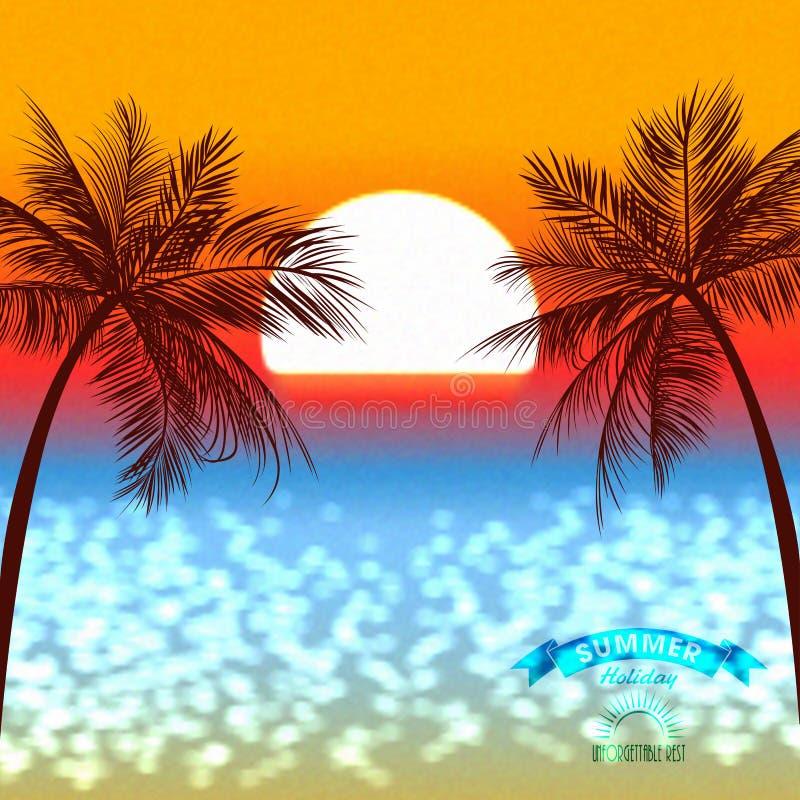 Puesta del sol de la tarde de un sol sobre una costa tropical stock de ilustración