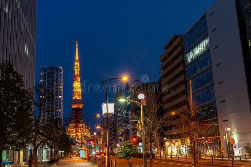 Puesta del sol de la torre de Tokio fotografía de archivo