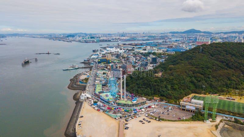 Puesta del sol de la visión aérea del parque industrial del wolmido Inchon Seul, fotografía de archivo libre de regalías