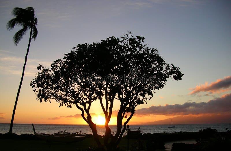 Puesta del sol de Lahaina foto de archivo libre de regalías