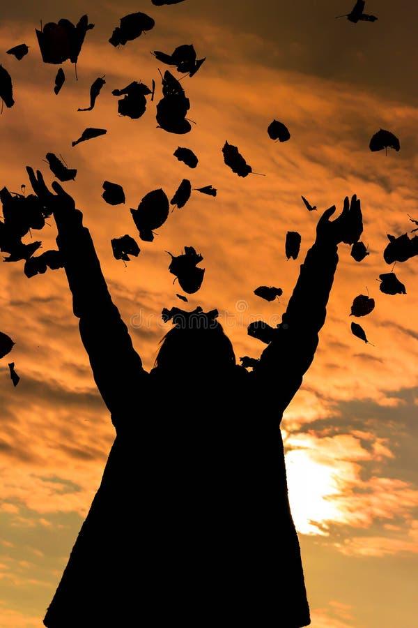 Puesta del sol de las hojas que lanzan de la muchacha en el aire foto de archivo libre de regalías